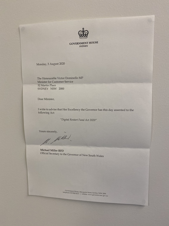 Letter from the NSW Governor-General advising of assent to the Digital Restart Fund legislation