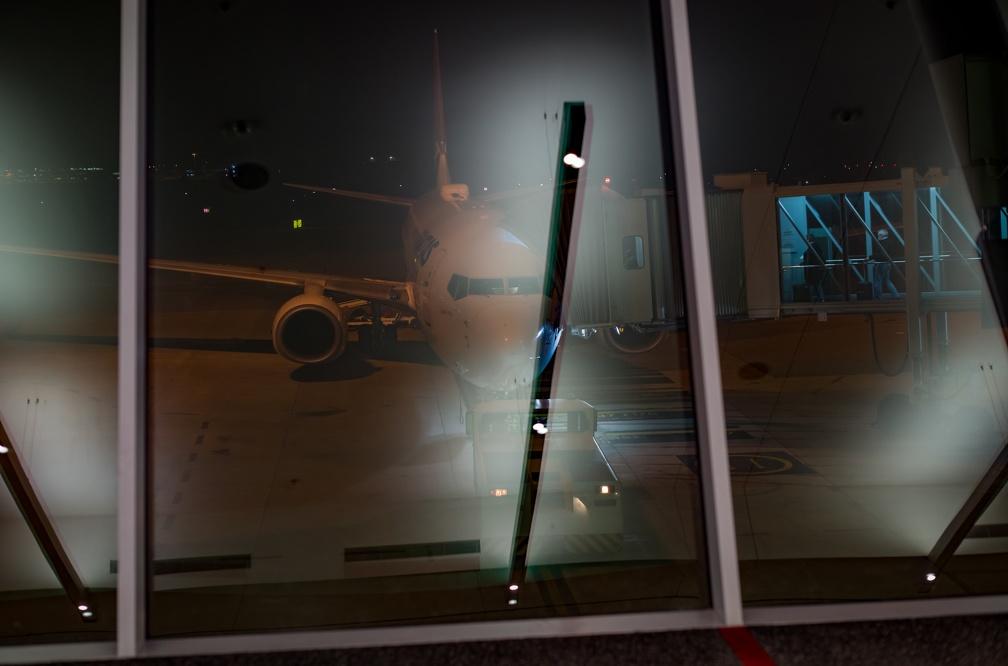 Qantas flight at the gate at Canberra Airport